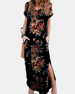 Floral Print Short Sleeve O-Neck Side Pockets Dress