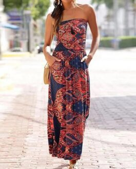 Floral Print Tube Top Sleeveless Ethnic Style Maxi Dress