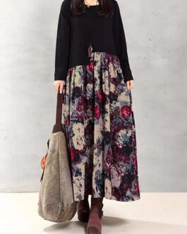 Floral Printed Patchwork Long Sleeves Maxi Dress