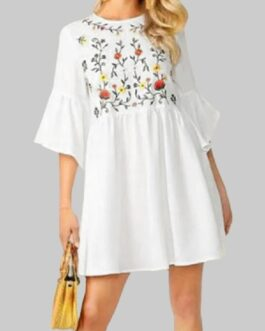 Flower Embroidery Flounce Sleeves Bohemian Mini Shirt Dress