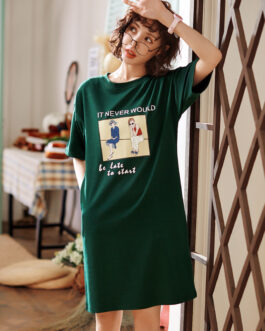 Good Quality Colored Cotton Short-sleeve Nightdress
