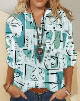 Graffiti Abstract Print V-neck Long Sleeve Shirt