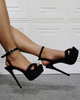 High Heel Sandals Micro Suede Upper Stiletto Plus Size Sexy Shoes