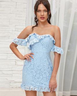 Lace Bateau Neck Casual Midi Dresses