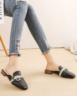 Mules PU Leather Square Toe Slip-On Puppy Heel Casual Shoes