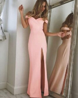 Maxi Dress Off Shoulder Split Long Prom Dress