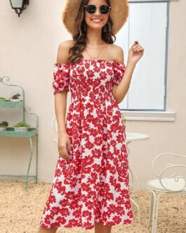 Printed Slim A-line Casual Dress