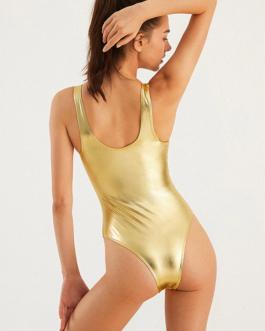 Reflective High Fork Swimwear Hot One Piece