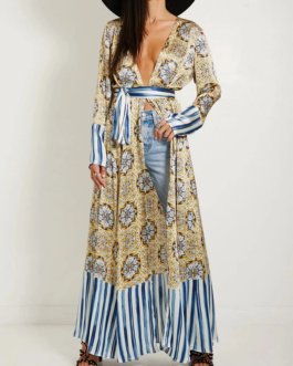 Retro Print V-neck Bohemian Holiday Long Sleeve Floral Long Maxi Dress