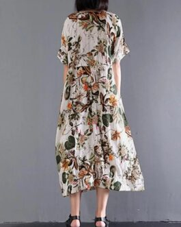 Retro Short Sleeve Cotton Floral Maxi Dress
