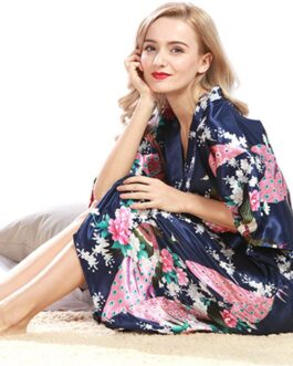 Sexy Fashion Peacock Print Loose Pattern Silk Pajamas Robe