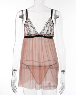 Sexy Lace Patchwork See-Through Mesh Sleep-dress
