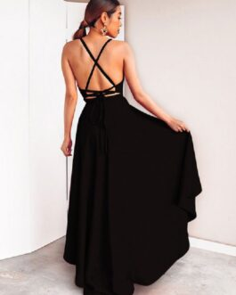 Sexy Long Dress Sleeveless Plunging Neck Backless High Low Maxi Dress
