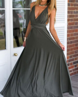 Sexy Maxi Dress Sleeveless Plunging Neck Backless Solid Color Evening Dress