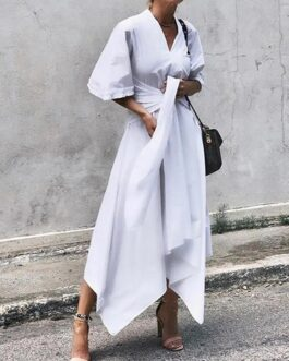 Sleeve Asymmetrical Midi Shirt Casual Belted Long Dress