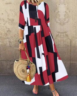 Sleeve O-neck Geometric Print Loose Maxi Dress