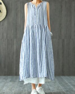 Sleeveless Striped V-neck Sundress Retro Long Maxi Dress