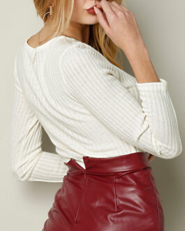 Solid Color Knitted Knotted Hollow Long Sleeve Casual Blouse