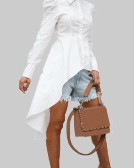 Solid Color Lapel Button Long Sleeve High Low Hem Basis Shirt Dress