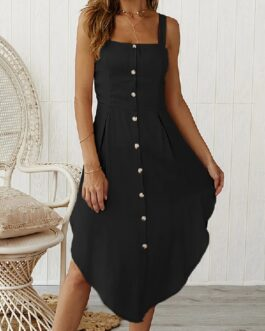 Solid Color Straps Sleeveless Irregular Hem Button Shirt Dress