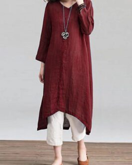 Solid Loose Round Neck Button Down Front Dress