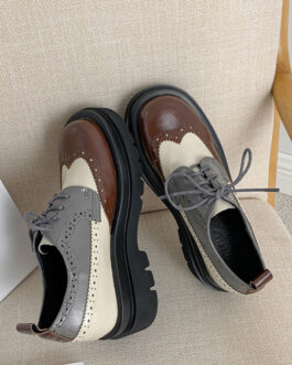 Stylish Oxfords Round Toe Puppy Heel PU Leather Lace Up Casual Leather Shoes