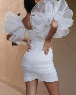 Sweetheart Organza Ruffle Sleeve Mini Dress