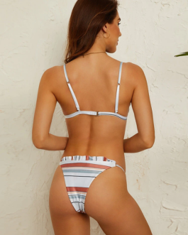 Triangle Striped Ruffles Trim Bikini Backless Swimwear