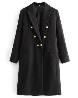Turndown Collar Buttons Long Sleeve Casual Maxi Coat