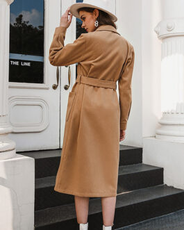 Turndown Collar Polyester Long Sleeve Casual Wrap Coat Outerwear