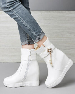 Ankle Boots Wedge Heel Round Toe