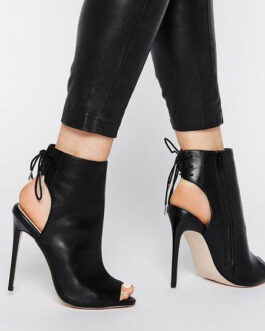 Ankle Peep Toe Slingbacks Lace Up High Heel Booties