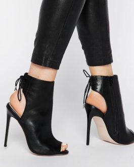 Ankle Peep Toe Slingbacks Lace Up High Heel Booties