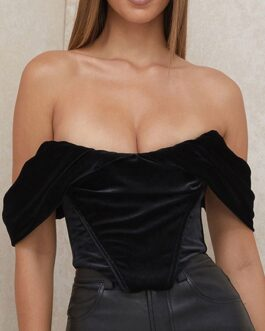 Blouse Bateau Neck Strapless Short Sleeve Velour Sexy Tops