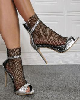 Boots Open Toe PU Leather Stiletto Heels