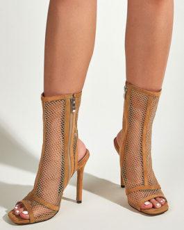 Boots Peep Toe Micro Suede Mesh Upper Zipper Stiletto Heel Sandals