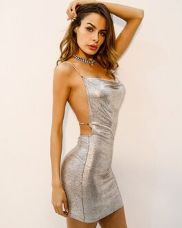 Club Dress Glitter Spaghetti Strap Sleeveless Backless Silver Club Wear