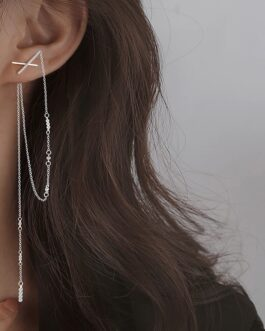Cross Tassel Long Zircon Fashion Elegant Earrings