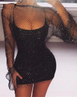 Diamonds Fishnet Sexy Beach Club Party Dresses