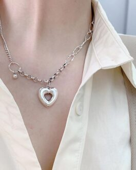Fashion Hollow Love Heart Pendant Necklace