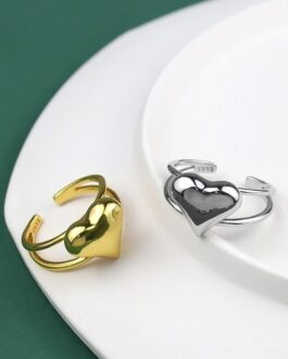 Love Heart Hollow Double Line Ring
