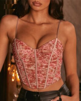 Mesh Printed Corset Camis Backless Bodycon Crop Top