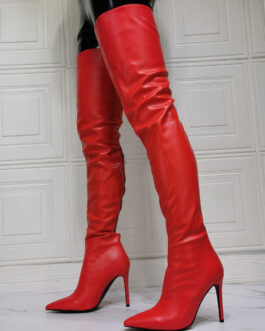 Over The Knee PU Leather Pointed Toe Stiletto Heel Sky High Boot