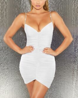 Sexy Diamonds Backless Ruched Bodycon Mini Dress