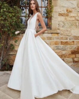 Simple Wedding Dress A-Line With Train V-Neck Sleeveless Pockets Satin Fabric Bridal Gowns