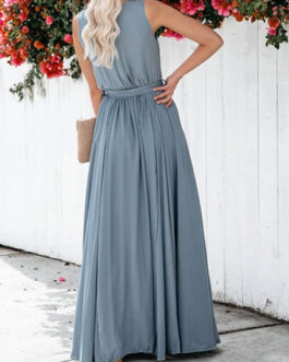 Sleeveless Blue V Neck Split Maxi Dress