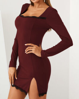 Solid Color Lace Patchwork Slit Hem Long Sleeve Sexy Dress
