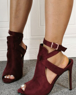 Suede Peep Toe Cut Out Ankle Strap High Heel Sandal Booties