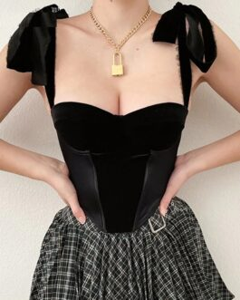 Vintage Corset Bandage Backless Crop Top