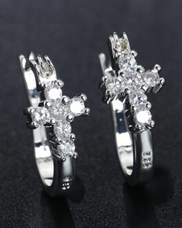 Zirconia Cross Hoop Earrings Fashion Jewelry